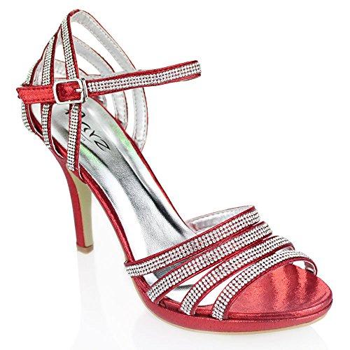de de señoras del Mujeres de de partido los sandalia de Aarz del Oro baile las talón la nupcial de Diamante tarde Champagne Negro zapatos Plata de boda Rojo la tamaño Rojo alto vOw8O