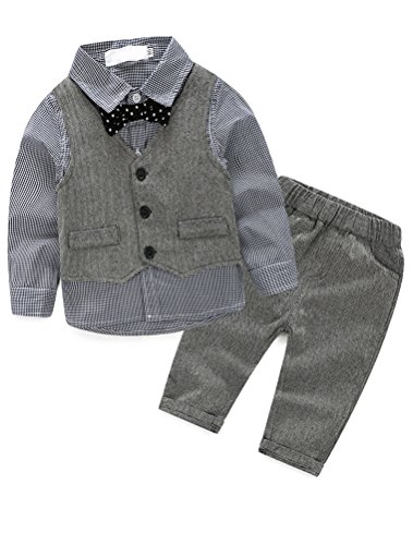 Abolai Baby Boys' 3 Piece Vest Set with Shirt,Vest and Pant Grey 80 by Abolai