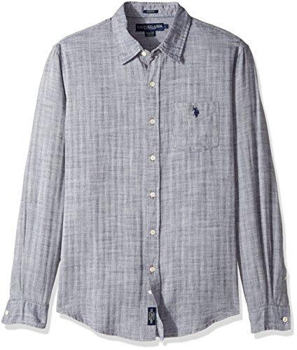 U.S. Polo Assn. Mens Slim Fit Solid Long Sleeve Sport Shirt