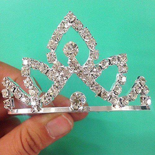 Set of 12 Rhinestone Princess Small Tiara 002 / Princesses Theme Party / Cupcake Cake Topper / Flat Tiara 1.25