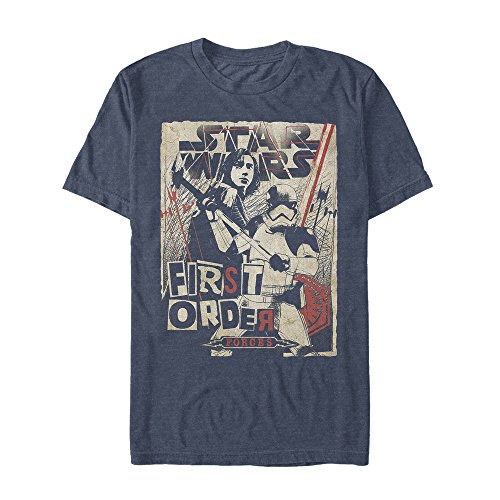 Star Wars Men's First Order Show Poster, Navy Heather, Medium