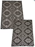 Korhani Reversible Patio Loft Flat Weave Rug Mat Pad for Indoor or Outdoor Use 5' x 7' 100% POLYPROPYLENE (Beige and Black)