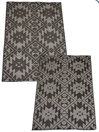 Korhani Reversible Patio Loft Flat Weave Rug Mat Pad for Indoor or Outdoor Use 5' x 7' 100% POLYPROPYLENE (Beige and Black) by Korhani