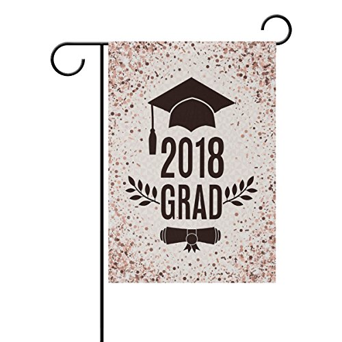 ALAZA Happy Graduation with Rose Gold Glitter Polyester Garden Flag House Banner 12 x 18 inch, Two Sided Welcome Yard Decoration Flag for Wedding Party Home Decor Polyester Roses