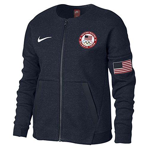 Price comparison product image Nike Big Girls' (7-16) Fleece Team USA Jacket-Obsidian Heather-XS