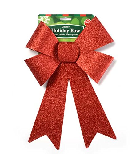 DollarItemDirect Holiday Red Glitter Bow 9 x 15 inches, Case of 48