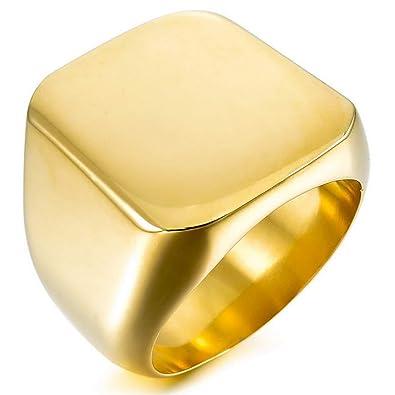MunkiMix Acero Inoxidable Anillo Ring Plata Oro Dorado Dos Tono Negro Pulido Sello Hombre