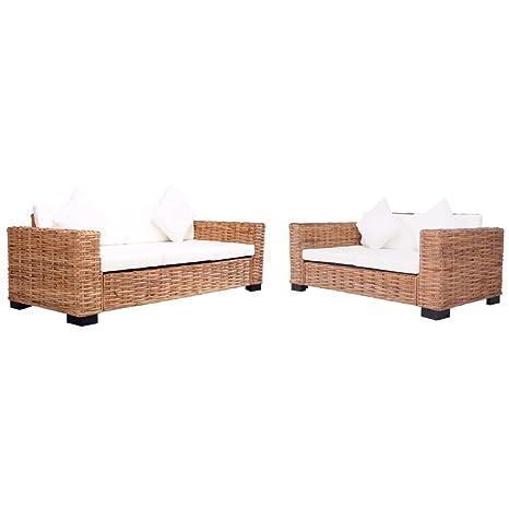 vidaXL - Juego de 2 sofás de jardín de 2 y 3 plazas con ...