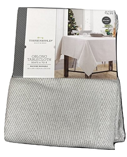 Threshold oblong tablecloth white and silver zig zag pattern 60