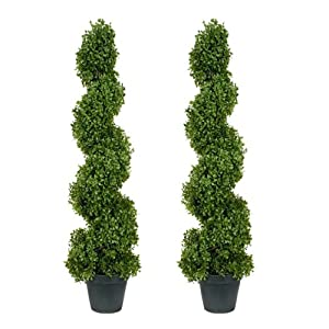 "TWO Pre-Potted 37"" Boxwood Artificial Topiary Trees 67"