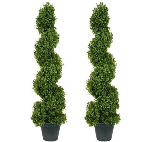 TWO Pre-Potted 37'' Boxwood Artificial Topiary Trees by Arcadia Silk Plantation