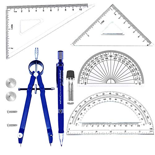 Student Drawing Compass Math Geometry Tools (6 pcs Compass+Pencil Blue)