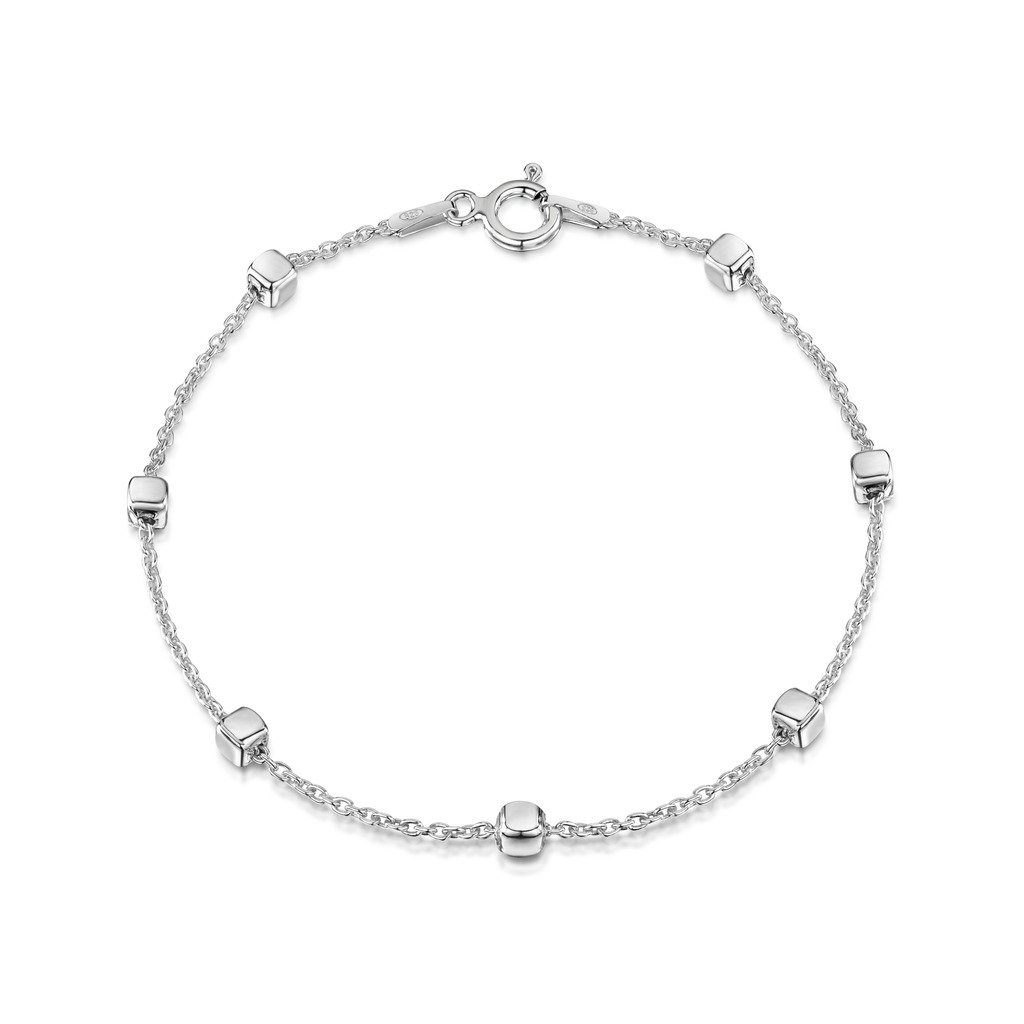 Amberta 925 Sterling Silver 1.4 mm Trace Chain Bracelet with 3.2 mm Cube Beads Size: 7 7.5 8 inch BIA-S925-CHAIN-036-140-180