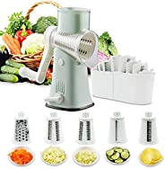 Rotary Graters 5 in 1 Cheese Grater-VEKAYA Kitchen Mandoline Slicer Easy Clean with non-broken strong handheld