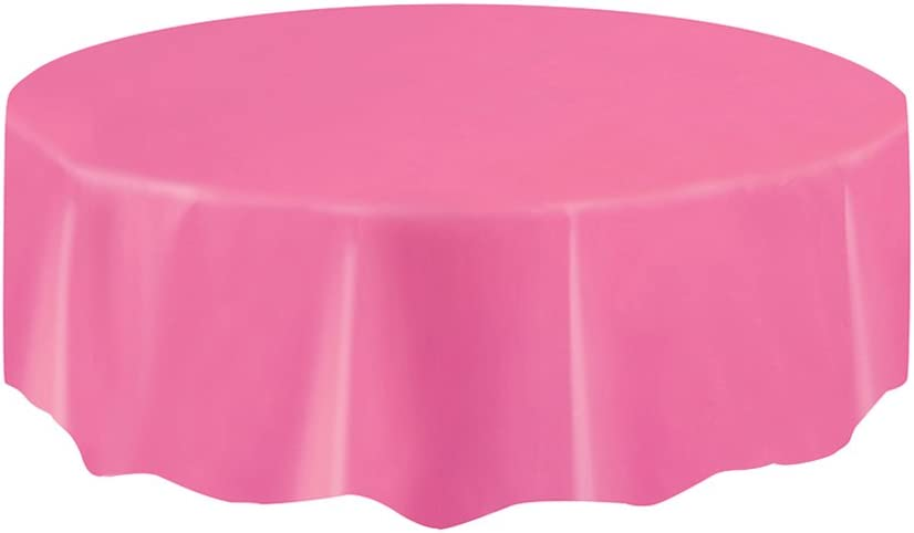Round Hot Pink Plastic Tablecloth, 84