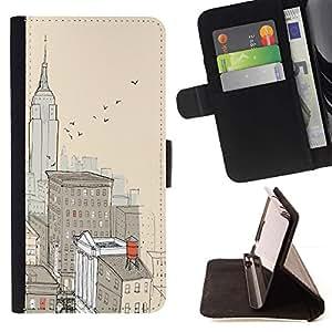 For Apple iPhone SE / iPhone 5 / iPhone 5S Case , Ciudad de Nueva York Pintura Empire Building- la tarjeta de Crédito Slots PU Funda de cuero Monedero caso cubierta de piel