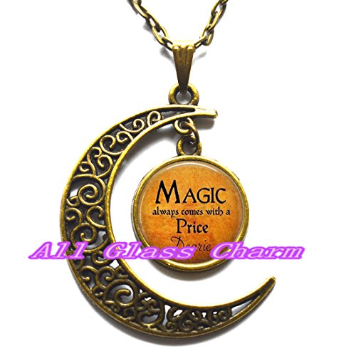 Delicate Moon Necklace,Crescent Moon Jewelry,Halloween Costume Jewelry - Magic always comes with a Price Dearie - Quote - Magic Spell - Rumpelstiltskin Once Upon A Time Costume For Sale