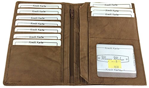 NB24 Versand Geldbörse, große Brieftasche für Damen und Herren, Echt Leder, tan (a 9030b), Größe ca. 16,5 x 11,5 x 1,5 cm