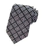 CuteRose Men Business Polyester Silk Plaid Floral Print Modern Necktie Tie Pattern17 OS