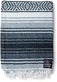 Mexican Blanket - Yoga Blanket Serape Mexican Blankets - Yoga Blankets - Authentic Baja Blanket Perfect as Beach Blanket, Camping Blanket (Gray)