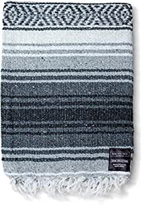 Mexican Blankets: Authentic Falsa Thick Soft Woven Acrylic Serape Yoga Blanket or as Beach Throw, Picnic, Camping, Travel, Hiking, Adventure Pink and Mint (Gray)