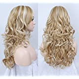 Liaohan Fashion Long Curly Brown Mixed Blonde Wig Highlights Hair Wig Brown Hair with Blonde Highlights Synthetic Wigs for Women Color: 27H613