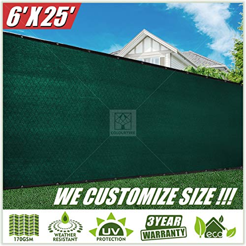 ColourTree 6' x 25' Green Fence Privacy Screen Windscreen Commercial Grade 170 GSM Heavy Duty, We Make Custom Size