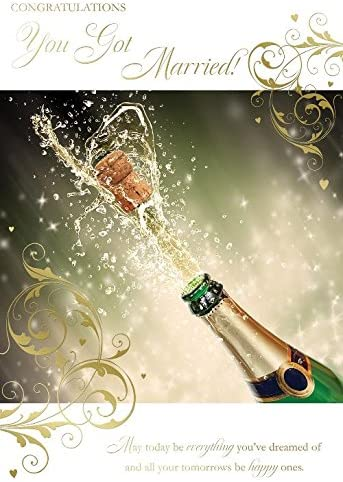 Congratulations You Got Married Lovely Bright Modern Champagne Cork Popping Design Wedding Day Card