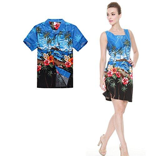 Couple Matching Hawaiian Luau Outfit Aloha Shirt Tank Dress in Dolphin Blue Men M Women XL (Couples Outfit)