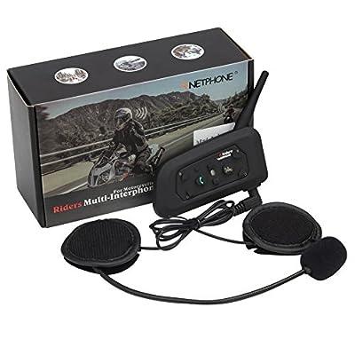 Motorcycle Bluetooth Intercom Headset 1200M Full Duplex Two Way Audio Interphone Motorbike Helmet Bluetooth Headset Skiing Scooter Communication Waterproof Advanced Noise Control (Single) - V6