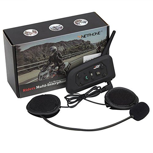 Motorcycle Bluetooth Intercom Headset 1200M Full Duplex Two Way Audio Interphone Motorbike Helmet Bluetooth Headset Skiing Scooter Communication Waterproof Advanced Noise Control (Single) - V6
