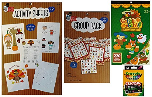 Thanksgiving Coloring and Game Activity Kit with Coloring Sheets, Stickers, Bingo Set and Crayons - 4 Piece Set for Kids, Family and Classrooms