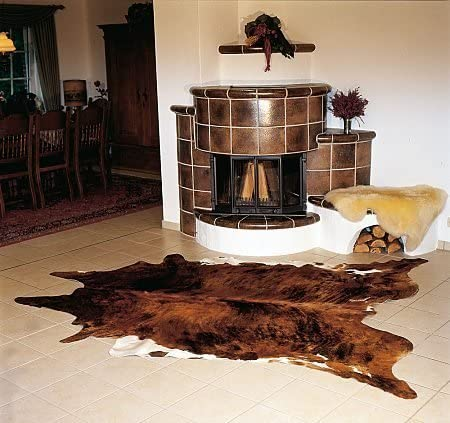 Brindle White Belly Cowhide Rug Cow Hide Skin Leather Area Rug Large