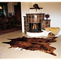 Brindle White Belly Cowhide rug on SALE Cow Hide Skin Leather Area Rug: LARGE