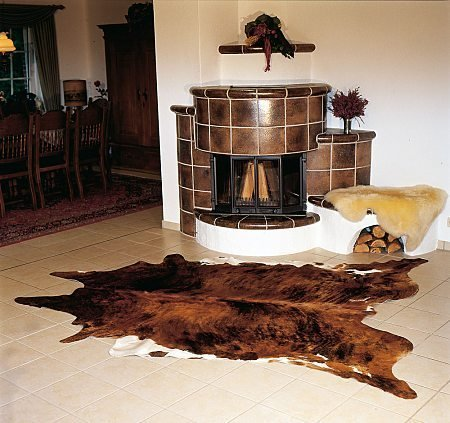 Brindle White Belly Cowhide rug on SALE Cow Hide Skin Leather Area Rug: LARGE by S.A.H. SOUTHAMERICANHIDES