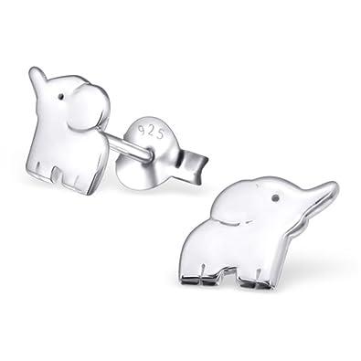 3eaeef5316ed Monkimau 925 Silber Elefanten Ohrring-e Afrika Kinder-Schmuck Kinder-Ohrstecker  Sterling Silver