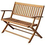 Festnight Folding Patio Garden Bench Solid Acacia Wood 47.2'' x 23.6'' x 35''