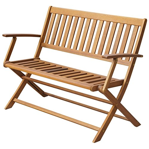 Festnight Folding Patio Garden Bench Solid Acacia Wood 47.2'' x 23.6'' x 35'' by Festnight