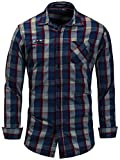 Neleus Men's Cotton Casual Plaid Button Down Dress Shirts with Pocket,159,Navy & Dull Red,S,EU M