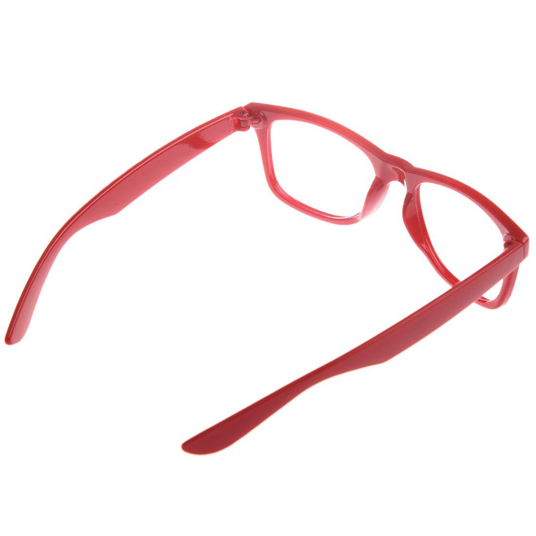 SODIAL Marco de los lentes Sin lentes Elegantes para ninos ninas Accesorio de fiesta Nuevo-Rojo