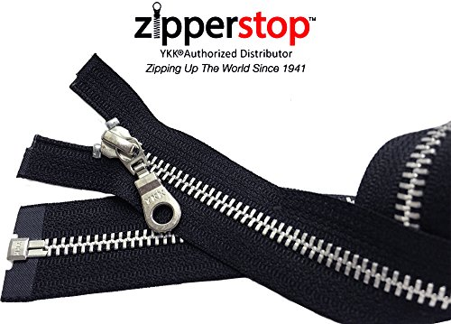 ZipperStop Wholesale YKK® -Jacket Zipper Aluminum Finished (Custom Length) YKK®#5 Medium Weight with Fancy Donut Pull Slider Separating Color BLACK Made in USA (20 Inches)