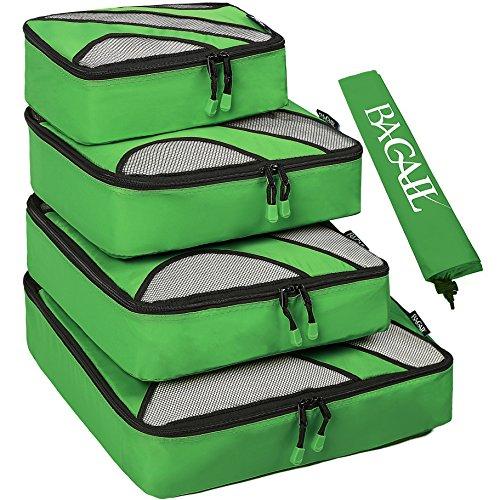 Set di 4 elementi di borsad'immagazzinamento di viaggiare, cubi di imballaggio per i bagagli, incluso il sacco della biancheria verde nailon