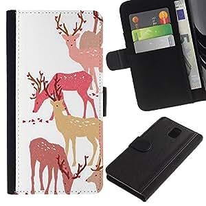All Phone Most Case / Oferta Especial Cáscara Funda de cuero Monedero Cubierta de proteccion Caso / Wallet Case for Samsung Galaxy Note 3 III // Deer Art Forest Animal Autumn Pack