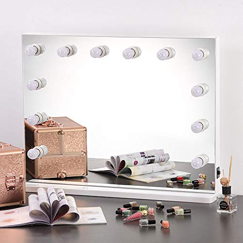 AW 33 x26 Lighted Hollywood Vanity Mirror 12pcs Dimmer LED Tabletop Wall Mount Makeup Hair Salon Dressing Room Photo