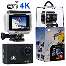 Action Camera, Wewdigi 4K WiFi Ultra HD Waterproof Sport Camera with 170 Wide-Angle Lens and Rechargeable Battery, Including Waterproof Case and Full Accessories Kits
