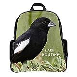 3D Print US State Bird Colorado Lark Bunting Backpack Schoolbag Outdoor Travel Bag Laptop Boys Girls PU Leather (Large)