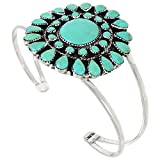 Turquoise Bracelet Sterling Silver 925 Genuine Turquoise (Select Style) (Blossom)