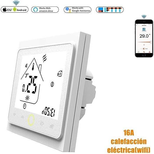 Calistouk Termostato de contacto inteligente WiFi controlador de temperatura para agua//calefacci/ón el/éctrica caldera aire acondicionado