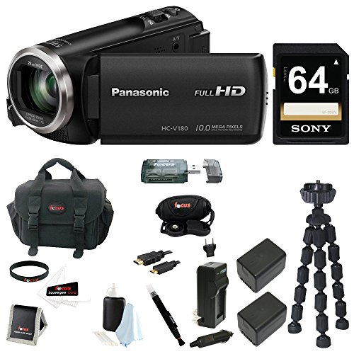 Panasonic HC-V180 HD Video Camcorder 64GB Card + 2 Batteries w/Charger Kit