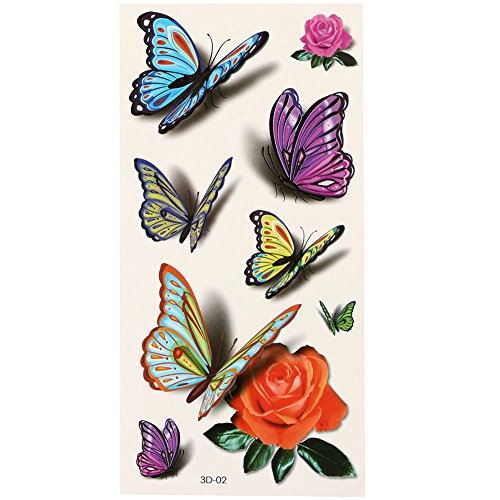 3D Color Butterfly Pattern Temporary Tattoos Stickers - 9